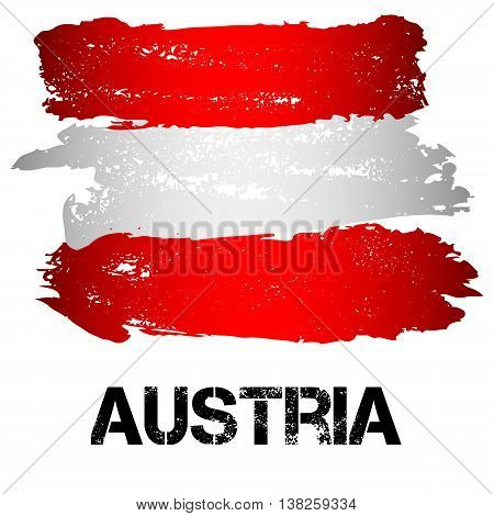 Flag of Austria from brush strokes in grunge style isolated on white background. Country in Western Europe. Vector illustration
