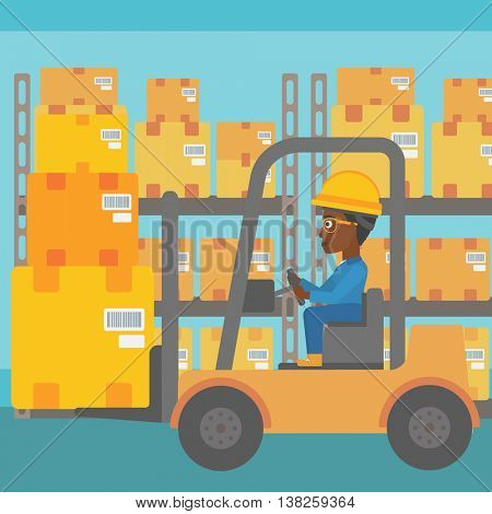 An african-american warehouse worker loading cardboard boxes. Forklift driver at work in storehouse. Warehouse worker driving forklift at warehouse. Vector flat design illustration. Square layout.