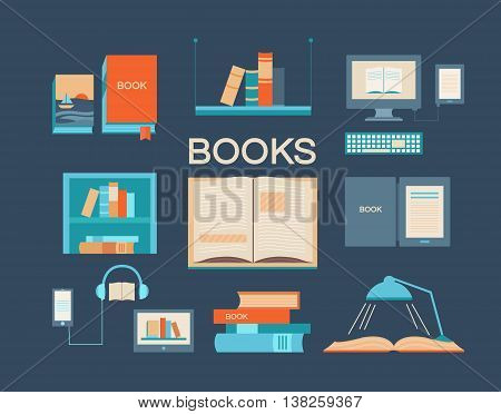 Vector set of books. Collection of vector icons with open book ebook bookshelf audiobook a stack of books library and other. Background for banners invitation cards web pages covers posters.