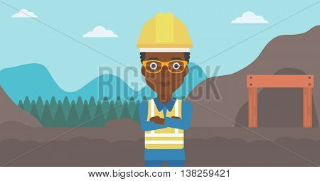 An african-american confident coal miner. Female miner standing in front of a big mining equipment on the background of coal mine. Vector flat design illustration. Horizontal layout.