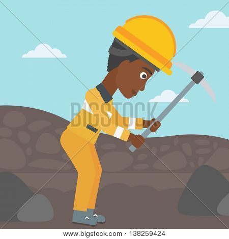 An african-american female miner working with a pickaxe. Mine worker in hard hat. Miner at the coal mine. Vector flat design illustration. Square layout.