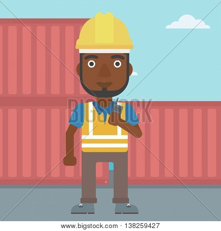 An african-american port worker talking on wireless radio. Port worker standing on cargo containers background. Man using wireless radio. Vector flat design illustration. Square layout.