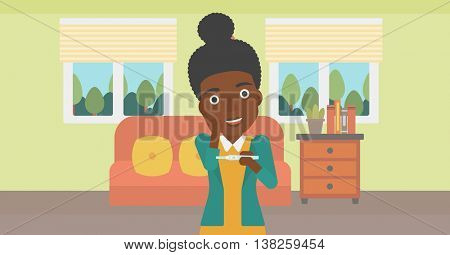 An african-american delighted woman looking at positive pregnancy test on the background of living room. Young woman checking pregnancy test. Vector flat design illustration. Horizontal layout.
