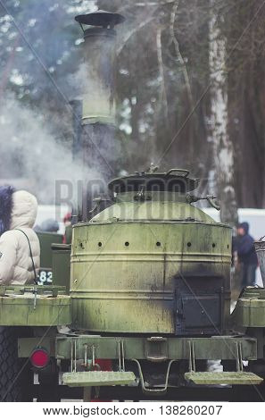 Reconstruction fighting military action. Boiler of tea