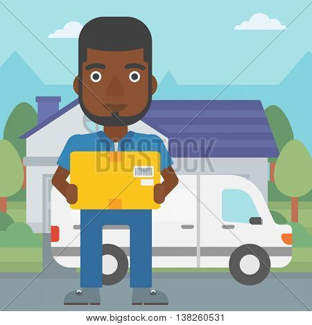 An african-american delivery man with box on background of delivery truck. Delivery man carrying cardboard box. Man with a box in his hands. Vector flat design illustration. Square layout.