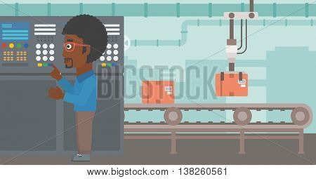 An african-american man working on control panel. Man pressing button at control panel in plant. Engineer standing in front of the control panel. Vector flat design illustration. Horizontal layout.