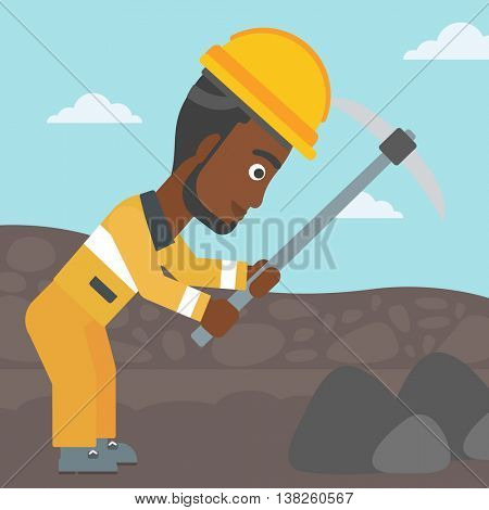 An african-american miner working with a pickaxe. Mine worker in hard hat. Miner at the coal mine. Vector flat design illustration. Square layout.