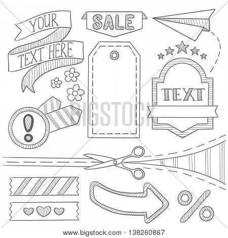 Set of vintage labels, ribbons, frames, banners, advertisements and elements. Sale concept. Hand drawn vector sketch illustration on white background.