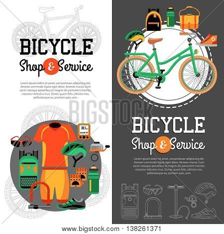 Two vertical banners with advertising of mountain biking accessories shop and service for bicycle vector illustration