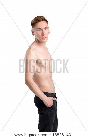 young naked man in pants isolated on white background