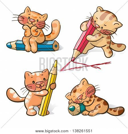 Vector set - amusing cartoon kittens with pencils. Hand-drawn illustration.