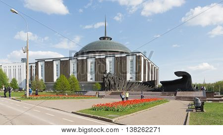 Moscow - May 6 2016: The tragedy of the peoples of Sculpture Zurab Tsereteli and the Museum of the Great Patriotic War and people walk in the beautiful park of the Victory in the spring of May 6 2016 Moscow Russia