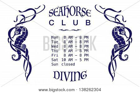 A diving club signboard template. Dark blue silhouettes of seahorses among seaweed cut through with outlines. Isolated on white background. EPS10 vector illustration.