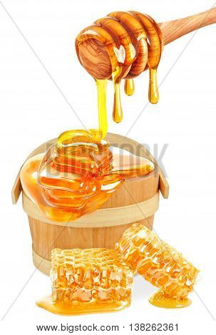 honey dripping in a bucket and honeycombs isolated on white