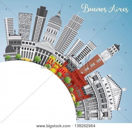 Buenos Aires Skyline with Color Landmarks, Blue Sky and Copy Space.