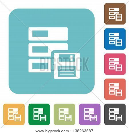 Flat backup symbol icons on rounded square color backgrounds.
