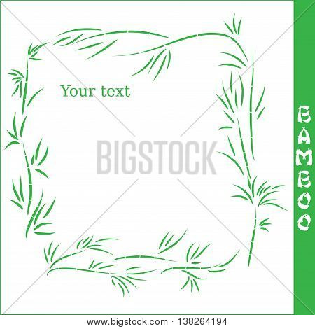 Vector bamboo square frame on white background