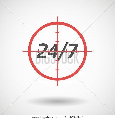 Isolated Red Crosshair Icon With    The Text 24/7