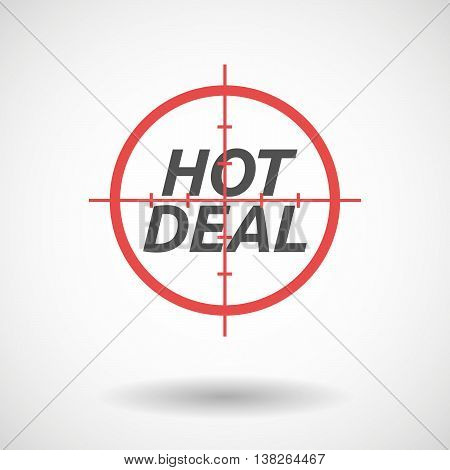 Isolated Red Crosshair Icon With    The Text Hot Deal