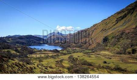 The beautiful landscape of Snowdonia national park Wales.