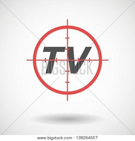 Isolated Red Crosshair Icon With    The Text Tv