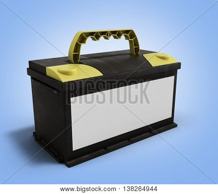 Battery Accumulator Car Auto Parts Electrical Supply Power 3D Illustration On Gradient