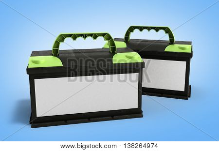 Battery Car Accumulators Auto Parts Electrical Supply Power 3D Illustration On Gradient