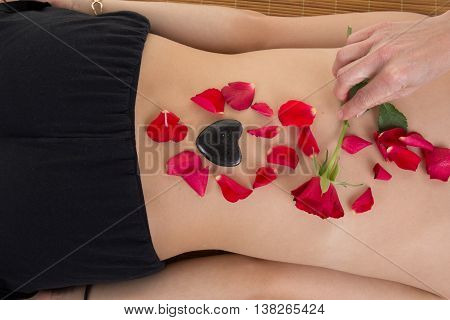 Man Hand Massage Beauty Girl On White Background