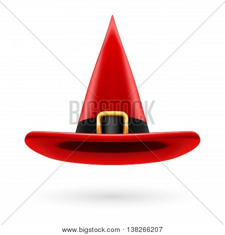 Red witch hat with golden buckle and hatband