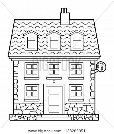 Cartoon House on white background, vector illustration