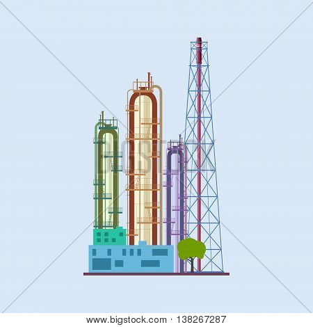 Chemical Plant Isolated, Refinery Processing of Natural Resources, Industrial Pipes, Vector Illustration