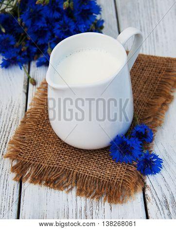 Jar Of Milk And Cornflowers
