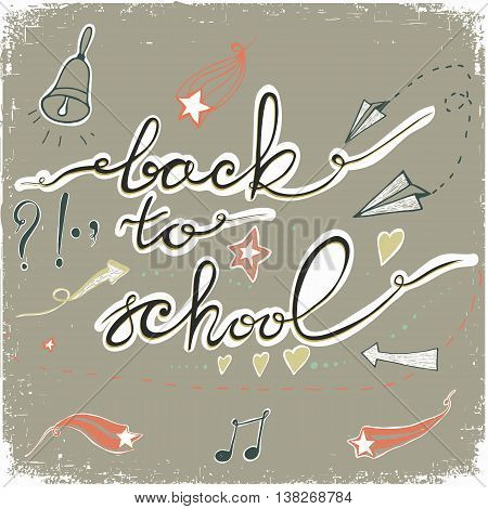 Back to School Doodles with bell, stars,hearts and arrows. Vector illustration. Design Elements. Vector Back to School doodles. Pastel backdrop.