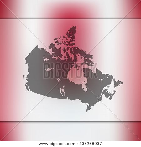 Canada map on blurred background. Blurred background with silhouette of Canada. Canada. Canada map.