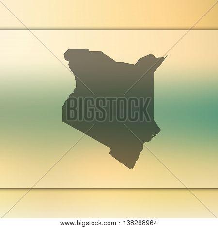 Kenya map on blurred background. Blurred background with silhouette of Kenya. Kenya. Kenya map.