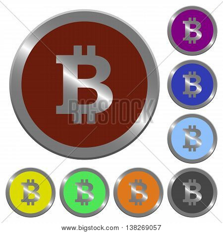 Set of color glossy coin-like bitcoin sign buttons.