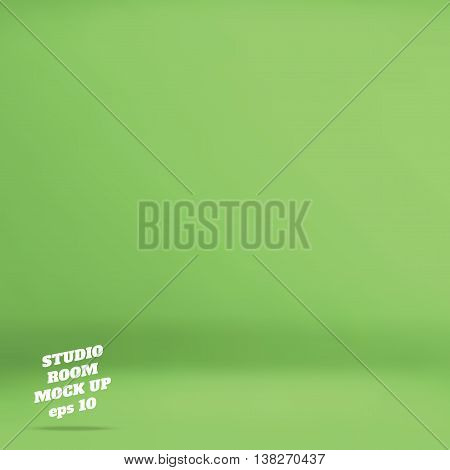 Vector : Empty Green Studio Room Background ,template Mock Up For Display Of Product,business Backdr