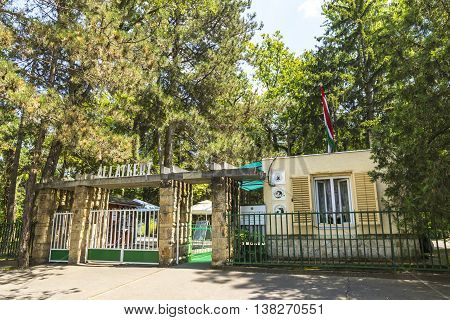 DEBRECEN, HUNGARY - JULY 1, 2016: Entrance gate of Debrecen Zoo, Hungary