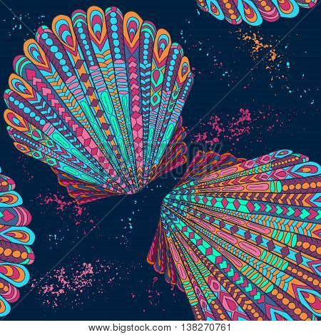Zentangle shells pattern. Seashell vector sketch. Ocean abstract shells. Summer underwater abstract pattern illustration. Zentangle vector illustration.
