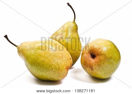 Ripe Pears Isolated On White Background. With Clipping Path.