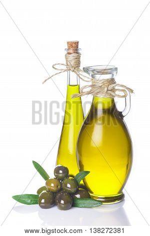 Extra Virgin Olive Oil Bottles Isolated On White