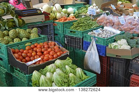 Vegetables on market stall in indoor market at Funchal Madeira Portugal