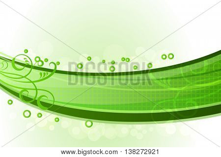 Abstract green waves with floral decoration background.
