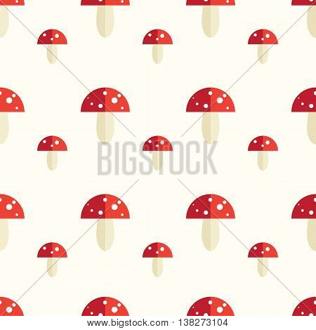 Seamless pattern with toxic amanita mushrooms. Fly-agaric background.