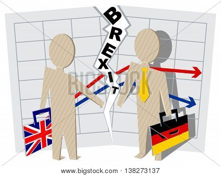 Britain and Germany Brexit. Severance of relations in business. Illustration in vector format