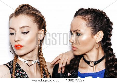 Two Women With Healthy Long Brown Hair