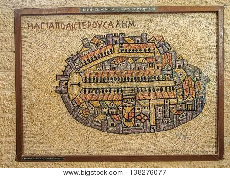 JERUSALEM ISRAEL - OCTOBER 24: The Holy City of Jerusalem - enlarged reproduction of Madaba Mosaic Map showing the cityscape of Jerusalem in Roman Cardo of Jerusalem Israel on October 24 2015