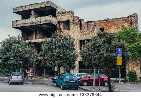Mostar Bosnia and Herzegovina - August 25 2015. Building destroyed during Bosnian War in Mostar