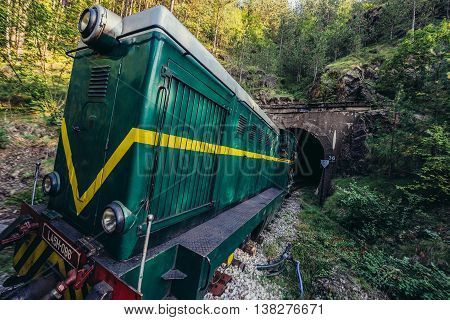 Serbia - August 28 2015. Old Romanian locomotive narrow gauge railway called Sargan Eight running from the village of Mokra Gora to Sargan Vitasi