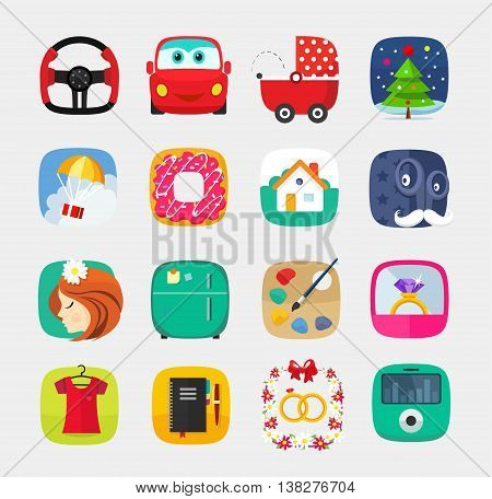 Mobile icons set in flat style for mobile app, internet, web interface design, electronics office wedding gifts clothes computer media player toys christmas bagel new year ring
